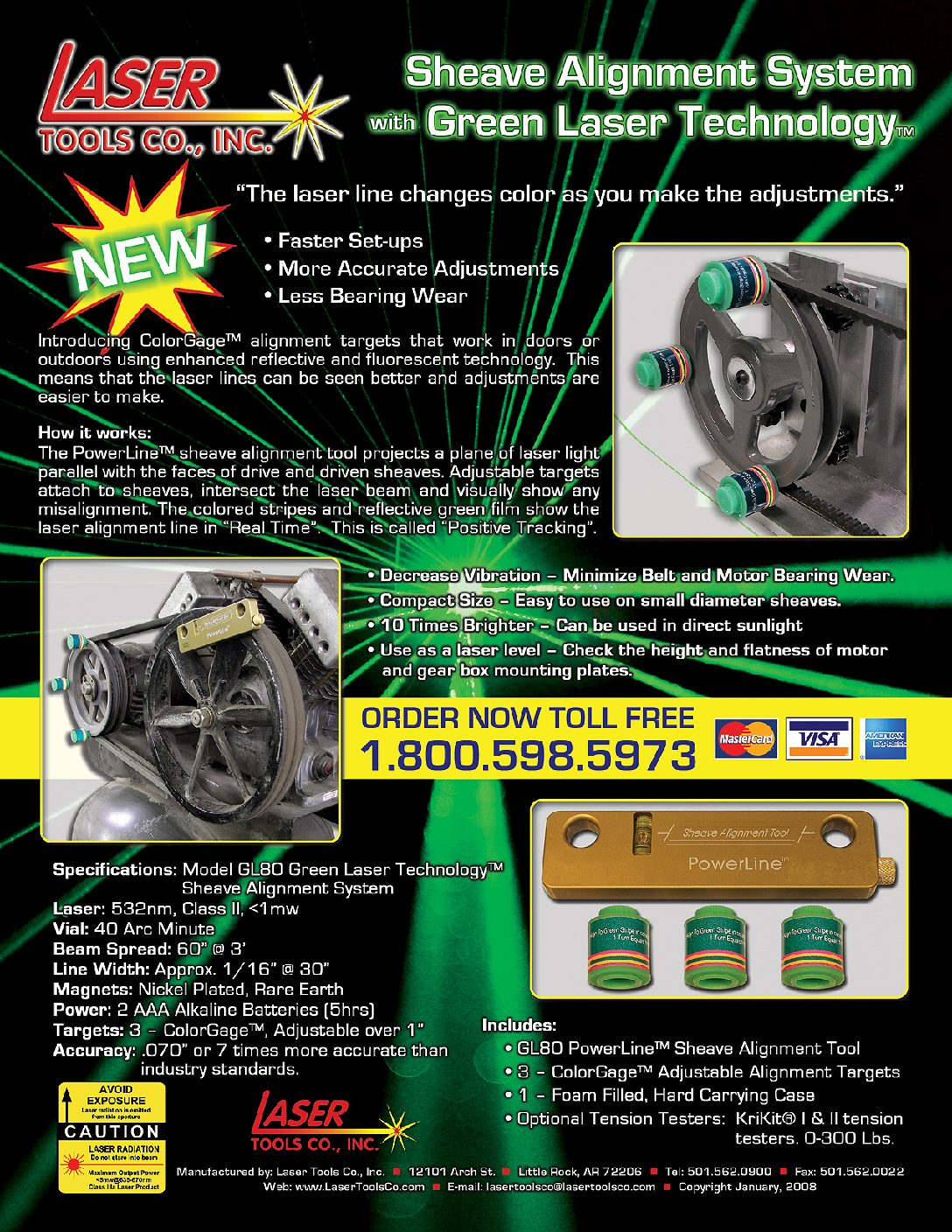 Laser Tools Co  | GL80 Green Laser Technology Sheave Alignment System